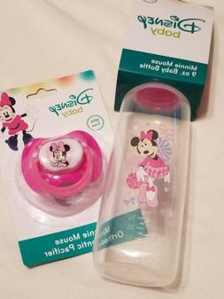 Disney Baby Mickey Mouse 9 oz. Bottle and Pacifier, Pink  NI