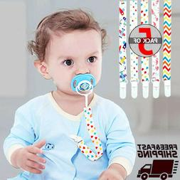 Baby Pacifier Clip 5-Pack, Babies Holder- Safe Strap/Leash -