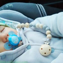 Baby Pacifier Clip Chain Holder Wood Silicone Beads Nipple D