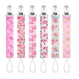 Baby Pacifier Clips by Upsimples - 6 Pack - Baby Pacifier Ho