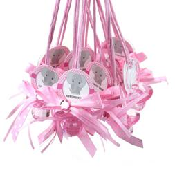 """Baby Pacifier """"Don't Say Baby"""" Elephant Favor Necklace, Pink"""