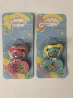BABY PACIFIERS 2 Pc with Pacifier Holder By Care Bears