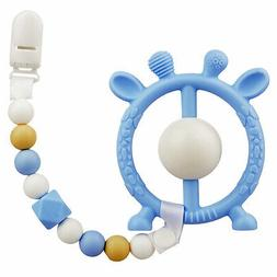 Baby Teething Toy Pacifier Clip with Silicone Teether Clamp