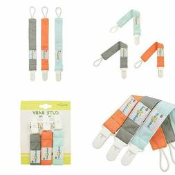 Babygoal Pacifier Clips Solid Color, 3 Pack Pacifier Holder