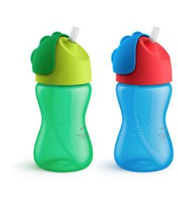 My Bendy Straw Cups Bottles 10oz 2 Pack Blue/Green Kids Todd
