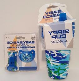 Blue Boys Camo 4 Pack Sippy Cups & Pacifier w Clip Set, Baby