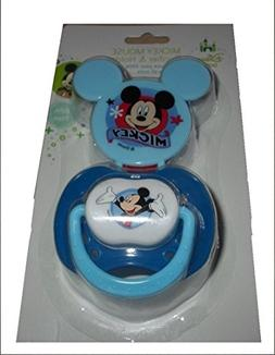 Blue Disney Mickey Mouse Clubhouse Pacifier With Clip Holder