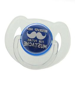 Blue 'Reserved Area for Future Mustache' Pacifier
