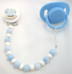 Blue Rocking Horse Pacifier Clip with Wooden Beads