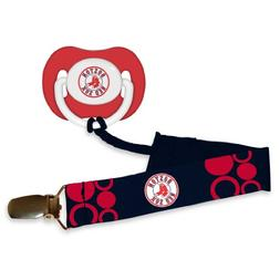 Boston Red Sox Red Pacifier and Pacifier Clip - 2014 MLB Bab