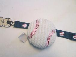 Boy's Baseball Rattle and Pacy Clip by Mud Pie, NWT