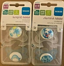 MAM BPA Free 0-6 Months 2 Pack Animal Pacifer - Elephant/Cat