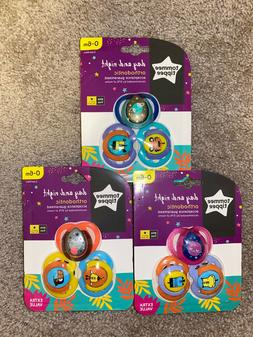Brand New - Tommee Tippee Day & Night 3 Pack Pacifiers  BPA
