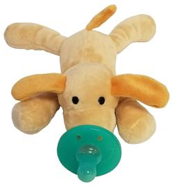 Envy Body Shop Brown Stuffed Dog with Green Pacifier
