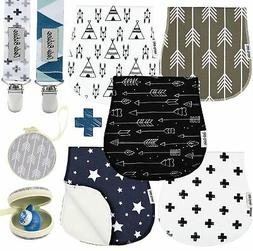 Baby Burp Cloths Pack of 5 by Dodo Babies + 2 Pacifier Clips