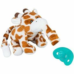by pacifier with stuffed animal attached giraffe