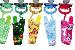 Child and adult sized pacifier clips with cute designs. Kitt