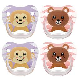 Dr. Brown's Classic Pacifier, 6-12m, Animal Faces Pink/Purpl