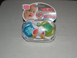 Nuby Comfort  Pack Orthodontic Pacifiers Green/Blue New/Ages