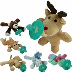 Cute Baby Pacifier Clip Chain Plush Cartoon Animal Toy Sooth