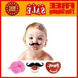 3Pcs Cute Kissable Mustache Pacifier for Babies and Toddlers