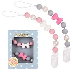 TYRY.HU Cute Pacifier Clip Silicone Bow Teether for Baby Gir