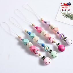 Cute Wooden Soother Silicone Holder For Baby Chew Pacifier C