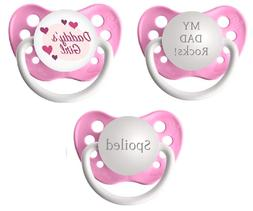 Daddy's Girl Pacifier Set - Daddy's Girl, My Dad Rocks and S