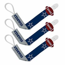 Dallas Cowboys 3pc Premium Pacifier Paci Clip Set Infant Bab