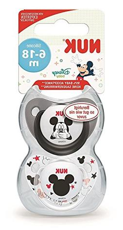 NUK Disney Mickey & Minnie Silicone Soother, Orthodontic Sha