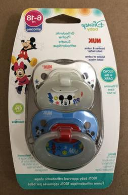 NUK Disney Mickey Mouse Silicone Orthodontic Pacifier, Set o
