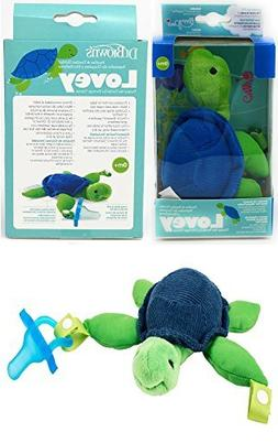 Dr. Brown's - Turtle Lovey with Blue One-Piece Pacifier - Gr