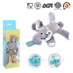 2-Pack Elephant Pacifiers Holder,STAR-FLY Lovely No Toxicity