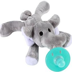 Evedy Pacifier Holder,Stuffed Elephant Pacifiers Baby Toys W