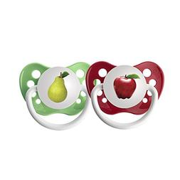 Ulubulu Expression Pacifier Set, Unisex, Apple and Pear, 0-6