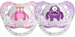 Ulubulu Expression Pacifier Set for Girls, Purple and Light