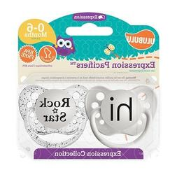 Ulubulu Expression Pacifier Set, Unisex, Hi and Rock Star, 0