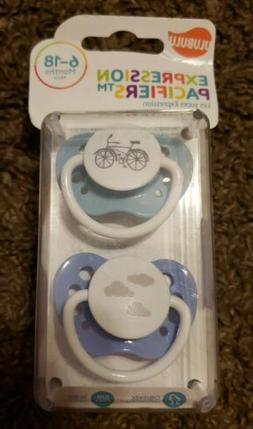 ULUBULU expression pacifiers 0-6 mons boy ligh teal bicycle