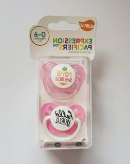 ULUBULU  Expression Pacifiers- Pink Royal Sweetness & Hello