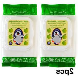 2 PACK 100% FOOD GRADE APPLE FLAVOR WIPES WITH ORGANIC ALOE