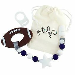 Football Baby Teething Toy with Pacifier Clip Boy or Girl Te