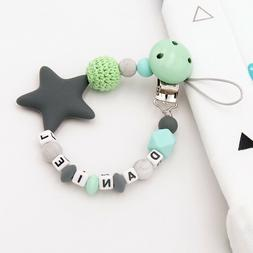 Free Personalized Name Baby Pacifier Chain Clip Silicone Pac