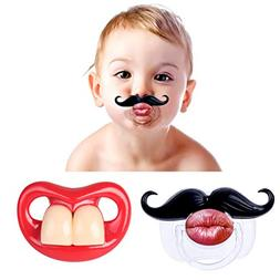 FLYPARTY 2Pcs Funny Teeth And Mustache Pacifier,Cute Gentlem