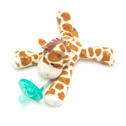 Giraffe Plush Pacifier Holder Clip & Silicone Infant Baby Pa