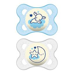 MAM Night Orthodontic Pacifier, Boy, 0-6 Plus Months, 2-Coun