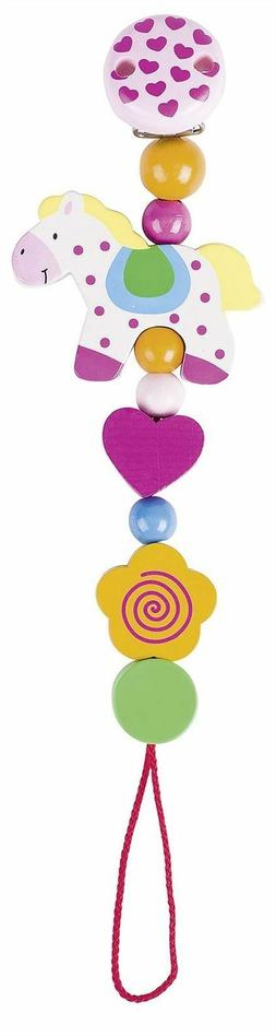 Heimess Horse Clip On Dummy Pacifier Soother Chain Wooden Ba