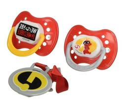 """Disney """"Incredibles 2"""" and Pacifier Clip Set, Red, 2 Count"""