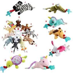 Infant Baby Pacifier Holder Hanging Removable Plush Kids Ani