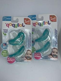 RaZ Baby Jollypop Pacifier, 0-3m, Teal, 2 Ct Made In USA