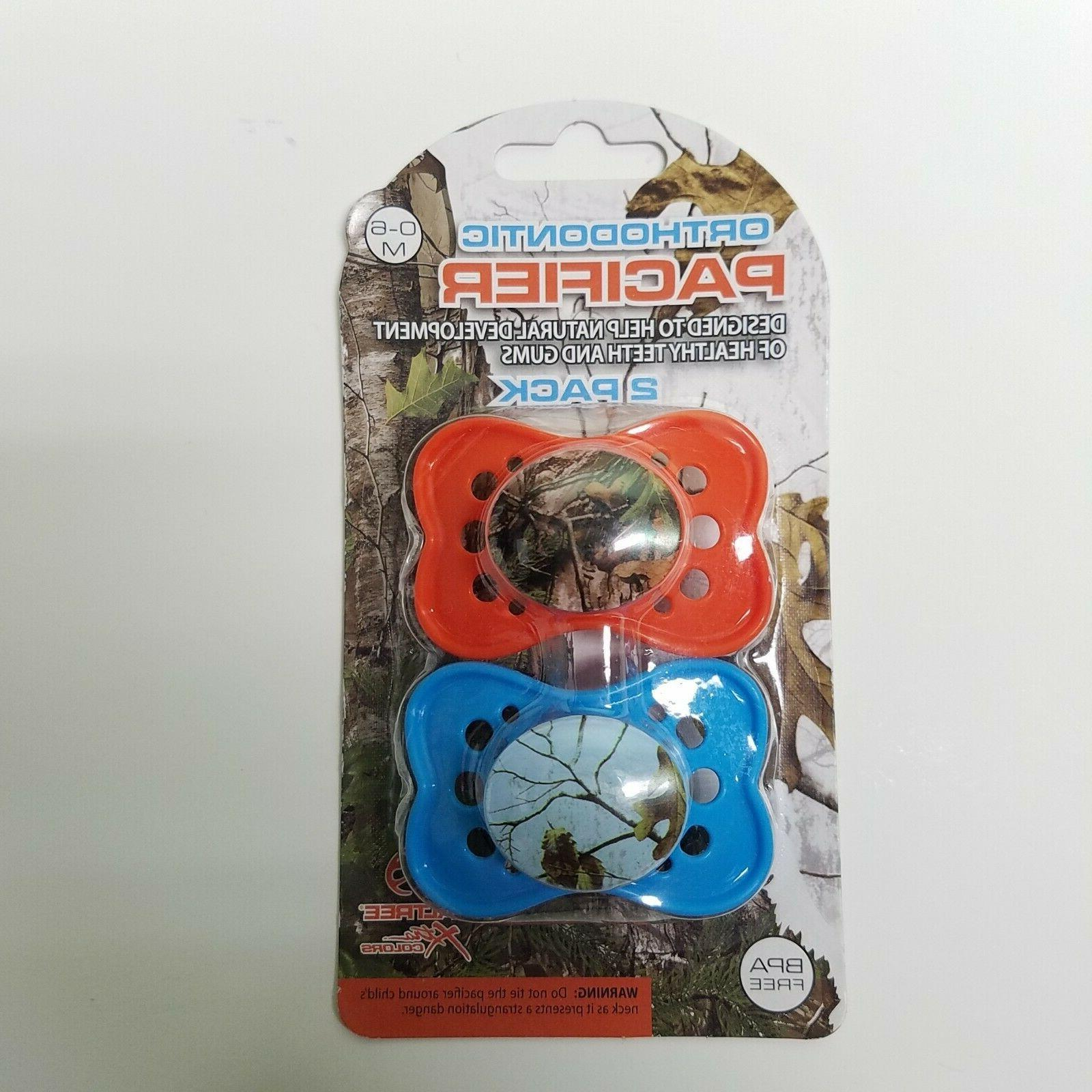 2 pack outdoor camo theme pacifiers bpa